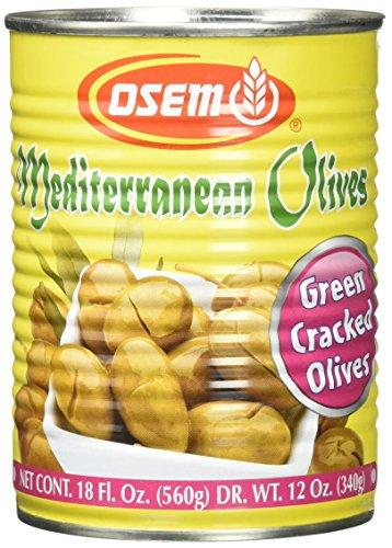 Osem Mediterranean Olives (Kosher for Passover), Green Cracked, 18.0 Ounce (Pack of 12)