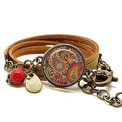 Bracelet doré avec cabochon verre Cachemire - Bracelet breloques bronze - Bracelet multi-rangs - Bracelet Cachemire - cadeau de noël, cadeau saint valentin, cadeau fête des mères