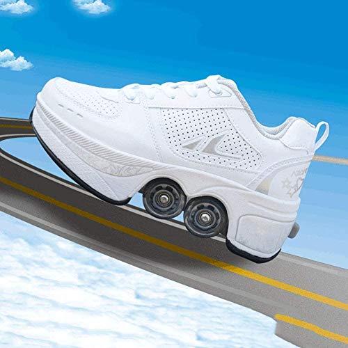 2-in-1 automatische wandelschoenen, vervorming, vier ronde loopschoenen, rolschaatsen, vrouwelijk, mannelijk, invisible pulleyschoenen, skates, maat 34