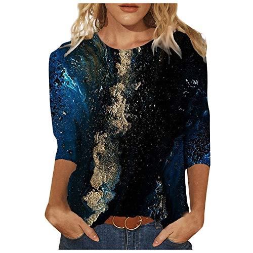 Amandaz Multicolor tie-dye Moda ropa de manga media, cielo estrellado océano impresión superior, cuello redondo suelto ropa casual