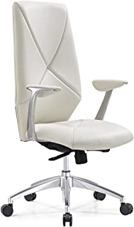 Modern Hearst Leather and Chrome Adjustable Office Chair with Aluminum Base - White