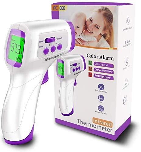 Termómetro de frente para adultos, termómetro infrarrojo digital sin contacto para niños, bebé con lectura instantánea precisa ° F / ° C, alarma de fiebre