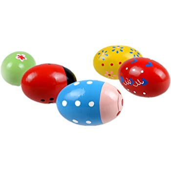 Blue 5pcs Egg Shakers Wooden Percussion Musical Maracas Child Kids Toys