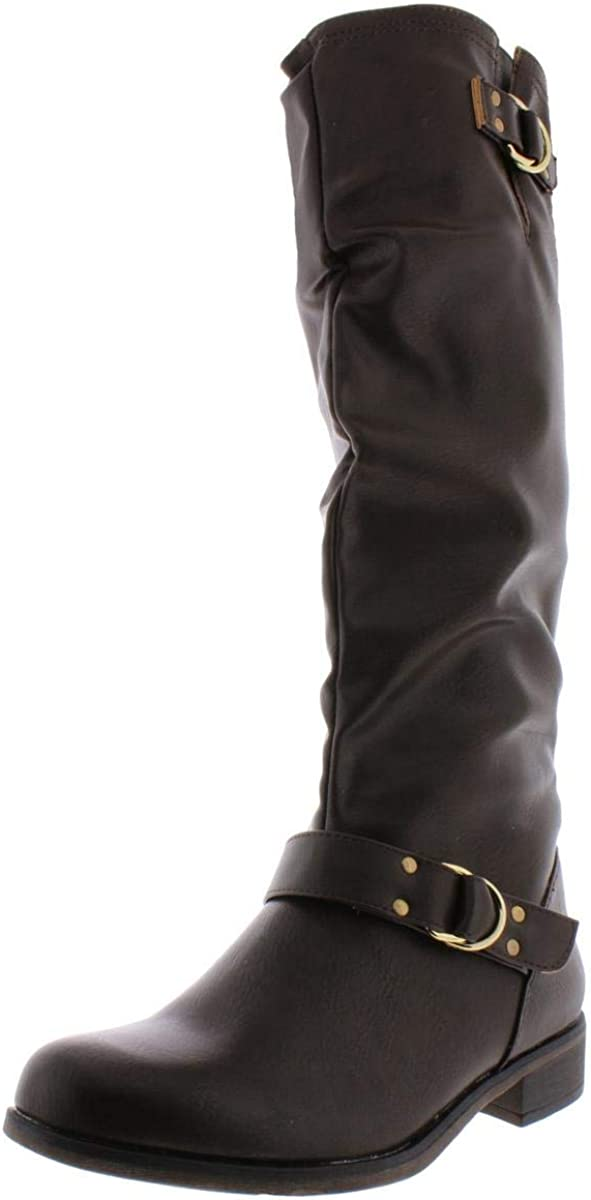 XOXO Womens Minkler Leather Closed Toe Mid-Calf Fashion Boots, Brown, Size 7.0