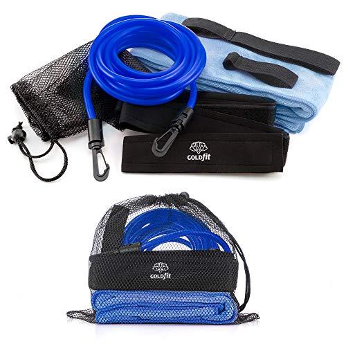 GOLDFIT Cinturón de natación estática Nadathlon, Cuerda Cinta Goma elástica de Resistencia para Nadar en Piscina, Toalla Microfibra y Funda. Kit arnés Swim Belt de Cintura para Entrenamientos. (Azul)
