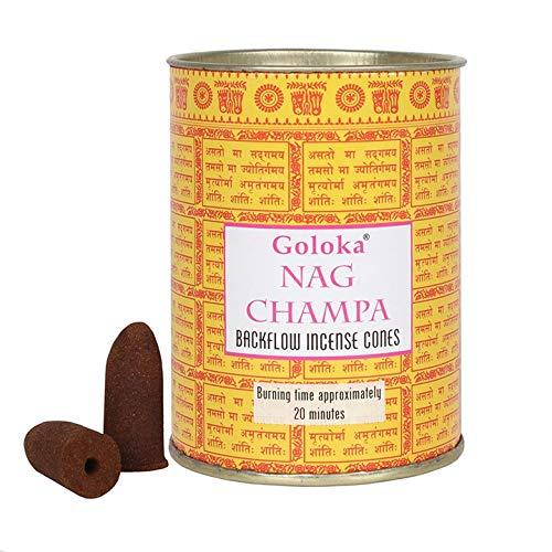 Goloka Nag Champa Rückfluss-Räucherkegel – Präsentationsdose