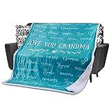 Grandma Blanket Birthday Gift for Grandma – Nana Blanket Gifts from Grandchildren, Granddaughter, Grandson - Blankets for Grandmother, Mimi, Gigi for Birthday, Christmas by FiloEstilo (Teal, Sherpa)
