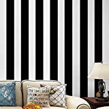 Self Adhesive Vinyl White Black Stripe Peel and Stick Wallpaper Shelf Liner Paper for Walls Furniture Cabinets Bedroom Kitchen Bathroom Decal Removable Waterproof 17.7x117 Inches