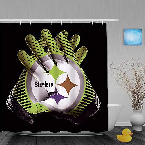 MANISENG Duschvorhang,3D-Druck Cyan Steeler Rugby-Handschuhe grau schwarz Hintergr&,Bad Vorhang waschbar Bad Vorhang Polyester Stoff mit 12 Kunststoffhaken 180x180cm