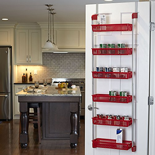 Household Essentials 6-Tier Basket Over-The-Door Organizer, Red