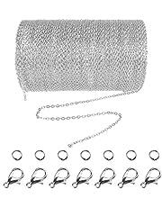 Jerbro - Catenina in acciaio inox, lunghezza 10 m, catena a maglie con 20 chiusure a moschettone e 30 anelli per gioielli fai da te, spessore 1,5 mm