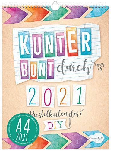 A4+ Bastelkalender 2021 [Kunterbunt] von Trendstuff by Häfft | Fotokalender, DIY-Kalender, Kreativ-Kalender, Geburtstags-Kalender zum Selbstgestalten - mach deinen Liebsten eine Freude!