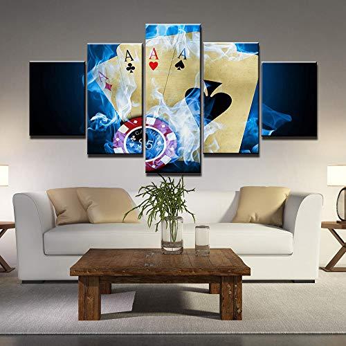 Yyjyxd 5 Stück Wandkunst Bilder Poker Leinwanddruck Moderne Kunst Poster Für Wohnzimmer Home Office Decor-4x6/8/10inch,With frame
