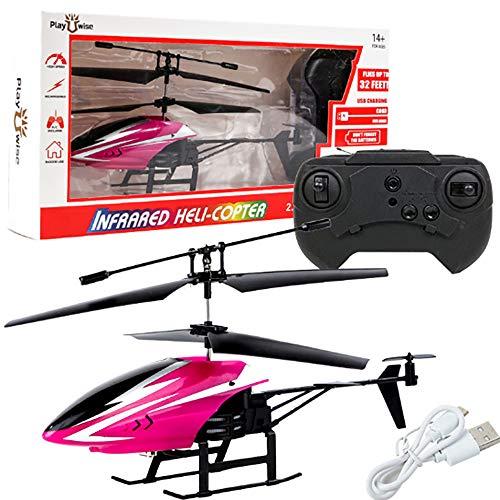 QYQS Ferngesteuertes Flugzeug, zweikanaliges, fallabweisendes Spielzeug, Ferngesteuerter Hubschrauber, schwarz, weiß, blau, pink, gelb, 4 * 10 * 20CM,Rosa