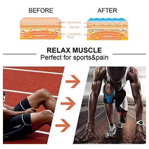 2 Rollen Physio Tape Kinesiologie Tape, Aollop Muskeln Kinesiology sport vorgeschnitten 5m x 5cm(16.4 Fuß x 2 Zoll) Rollenlänge Elastisches Therapeutisches sport verletzungen Tape elastische Bandage für Plantarfasziitis Physiotherapie, Knöchel, Knie,Rücken, Nackenschmerzen Nacken .Muskel und Gelenk Tape (1Blau+1Schwarz) - 2