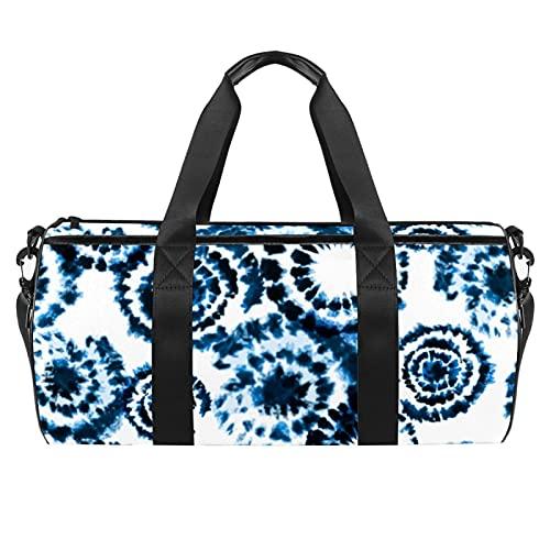 Resistente al agua Deportes Gimnasio Viaje Weekender Duffel Bag Púrpura Floral, Tinte corbata japonesa con textura de tinta., 45x23x23cm/17.7x9x9in,