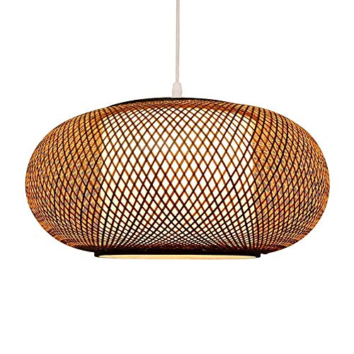 CSSYKV Chinese Antique Bamboo Weaving Lantern Round Chandelier Simple Japanese Dining Table Ceiling Lamp Restaurant Tea House Restaurant Country Bamboo Weaving Lamp Bamboo Art Lamp