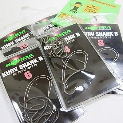 FTD - Min 20 (2 packs of 10) KORDA (KURV SHANK B) Barbless (EYED) Carp Fishing Hooks - Single Size & Combinations - Sizes 4 to 12 - Comes with 10 FTD Hooks to Nylon (2 packs - size 6)