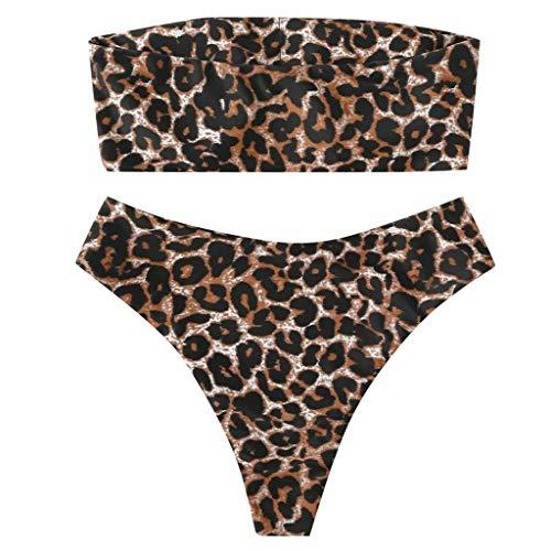 PPangUDing Bikini Set Damen Sexy Bandeau Hoher Taille Push Up Geteilter Schlankheits Strandurlaub Bequemer Zweiteiliger Bademode Badeanzügen Beachwear Swimwear Swimsuits Badebekleidung
