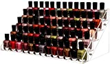 Cq acrylic 72 Bottles of 5 Layers Nail Polish Rack-Clear Nail Polish Display,Just Stand on the Table or Desk,16.4x7.8x7.5 inch,Pack of 1