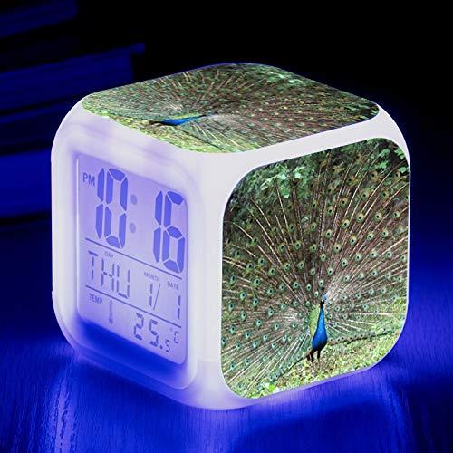 Totots Reloj de alarma electrónica Pavo real, creativo Colorido Color Color Cumpleaños Aviador de alarma, Mini Desktop Decoration Animal, Anime Night Light, Snooze Alarm Reloj, LED Regalos electrónico