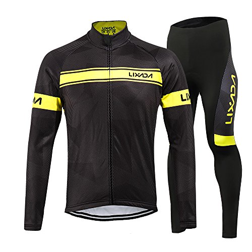 Lixada Men's Cycling Jersey Suit Winter Thermal Fleece Long Sleeve Mountain Bike Road Bicycle Shirt with 3D Tights Padded Pants