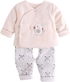 KINDOYO Unisex Baby Clothes Set - Newborn Cotton Warm Long Sleeve Tops & Trouser Outfits 2 Pieces Sets, Beige-1(Open-Crotch)/59