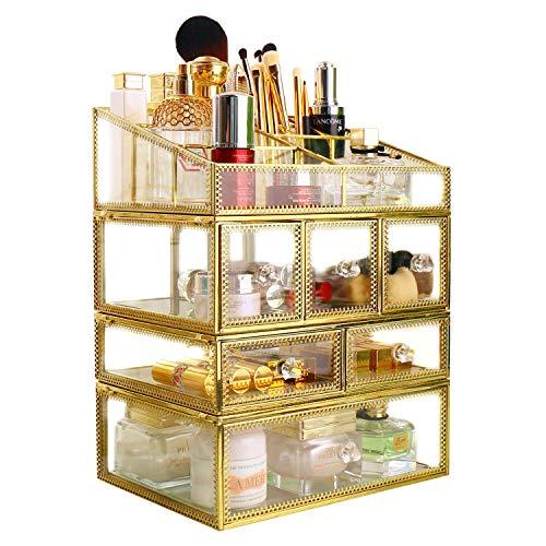 Hersoo Grand organiseur de maquillage spacieux pour cosmétiques en verre miroir de coiffeuse avec tiroirs transparents pour bijoux, accessoires de salle de bain, vitrines, fournitures de bureau