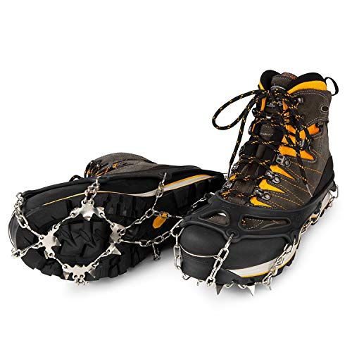 IVEUM Steigeisen für Bergschuhe - hochwertige Spikes für Schuhe in Größe 34-47 - Optimaler Halt zu jeder Situation im Winter - Grödel - L