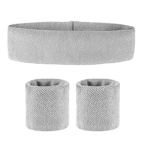 N\ COMETOBEST - Juego de bandas para el sudor, diadema + 2 pulseras para hombres o mujeres que absorben la humedad tejido jacquard de algodón absorbente