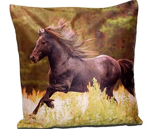 Weiche Kissenhülle 40x40 cm Dekokissen Kissenbezug Foto Kissen Sofakissen Pferd (1 Pferd)