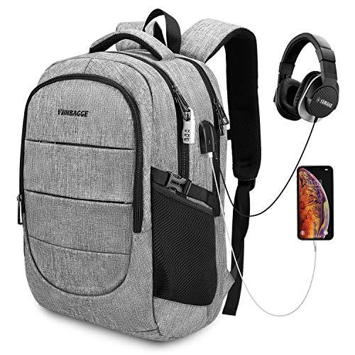 17,3 Zoll Laptop Rucksack Wasserdicht Herren Notebook Backpack Damen Schulrucksack 45L Anti Diebstahl Daypacks mit USB-Anschluss für Männer Jungen - Grau