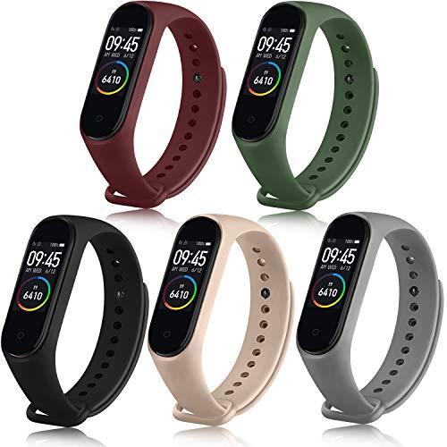 Mugust Correa Compatible con Xiaomi Mi Band 4 / Xiaomi Mi Band 3 Pulseras Silicona Reloj Recambio Coloridos para Xiaomi Mi Smart Band 4 (5 Colores- B)