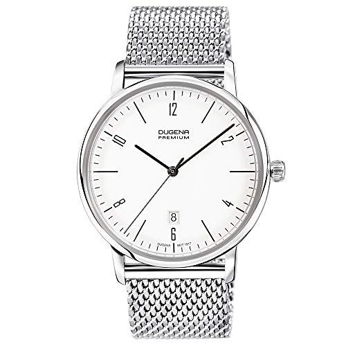 DUGENA Herren-Armbanduhr 7090238 Dessau, Quarz, weißes Zifferblatt, Edelstahlgehäuse, Hart-Acrylglas, Milanaiseband, Schiebeverschluss, 3 bar