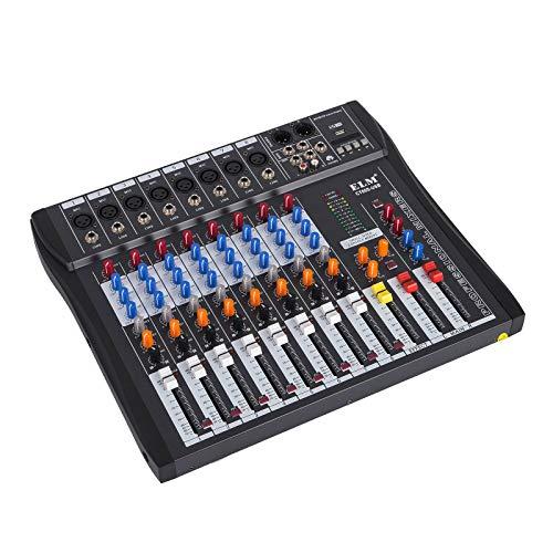 Husuper Digital Audiomixer mit 48V Phantomspeisung Mischpult USB MP3 Audio Mixer für die Aufnahme von DJ Bühnen Karaoke Musik 220V (8 kanal)