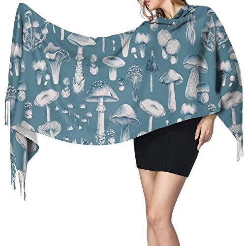 Bufanda de mantón Mujer Chales para, Setas azules Bufanda cálida de invierno para mujer Moda Bufandas largas y grandes de cachemira suave y envolvente