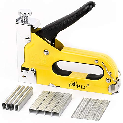 Topec 3 in 1 Heavy Duty Staple Gun Kit with 600 Staples, for Upholstery, Material Repair, Carpentry, Decoration, Furniture, Crafts, DIY (T8012-01)