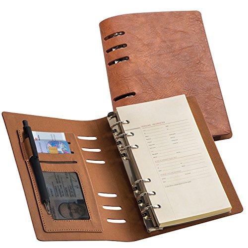 Ringbuch / DIN A6 / mit Notizblock / PU-Einband