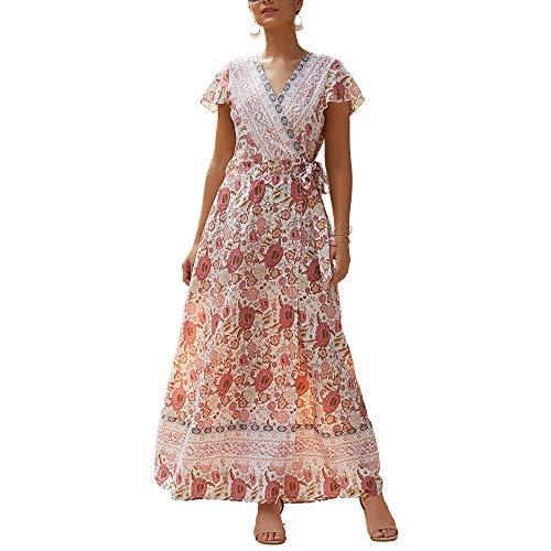 Falda larga de verano retro con cuello en V, manga corta, falda dividida, estampado sexy para mujer, vestido de ocio, vacaciones, 006, mediano