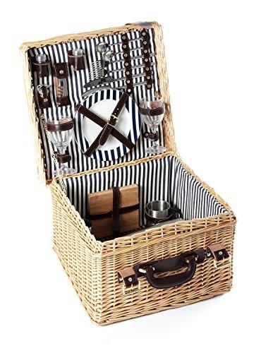 Greenfield Collection (GG033) Deluxe Clarendon Picknickkorb für 2Personen, Weide, Futter in Mitternachtsblau-Weiß gestreift