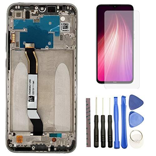 Hypak Pantalla IPS LCD para Xiaomi Redmi Note 8 (Completa con Marco) Repuesto Cristal Tactil Digitalizador (Plata)