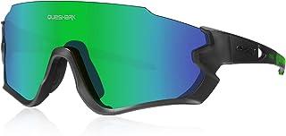 Queshark Gafas de Ciclismo para Hombre Mujer Bicicleta de Carretera 1 Lente Polarizada 3 HD UV400 Lente QE45