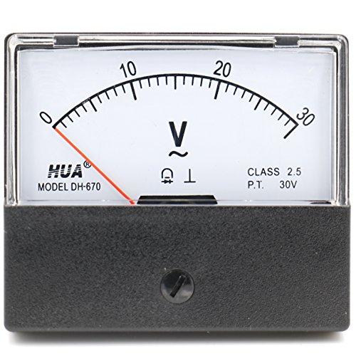 Heschen Rechteckiges Voltmeter Analog Panel Volt Voltmeter 670 Stil AC 0–30 V Klasse 2,5