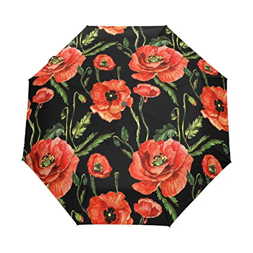XiangHeFu Paraguas Cute Poppy Flower Pattern 3 Pliegues Ligero Anti-UV