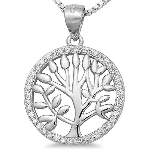 Lebensbaum Kette Baumanhänger rhodiniert - Damen Schmuck Amulett mit Collier 40 45 50 55cm Venezianerkette #1726 (40)