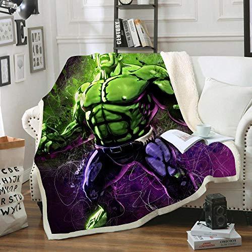 WYWZDQ - Coperta e plaid, motivo Hulk, copertina stampata, copertina da viaggio, per computer portatile, flanella, Sherpa, divano, campeggio, viaggio, copertina (1,150 x 200 cm)
