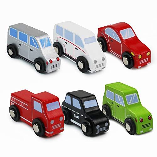 Symiu Voiture Enfant Petite Jouet Bois Voiture Camping Car Jouet pour Enfants Fille Garcon 3 4 5+ Ans