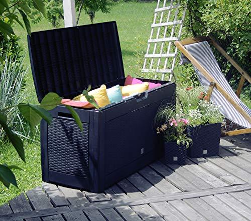 FineHome XL Kunststoff Auflagenbox Kissenbox Gartenbox mit Rollen Breit-Rattan-Optik aus Kunststoff für z.B. Polsterauflagen oder Kissen wasserdicht Anthrazit 310Liter