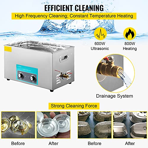 Mophorn 30L Ultrasonic Cleaner 304 Stainless Steel Professional Knob Control Ultrasonic Cleaners with HeaterTimer for Jewelry Watch Glasses Circuit Board Dentures Small Parts Dental Instrument