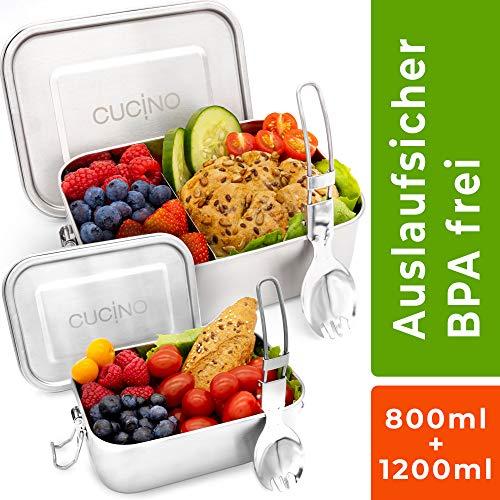 Cucino® | Dichte Edelstahl Brotdose mit Trennwand (flexibel), BPA- & Plastikfreie Bento Box ideal für Kinder & Erwachsene, LFGB Zertifiziert | 1200ml & 800ml Kombi-Pack